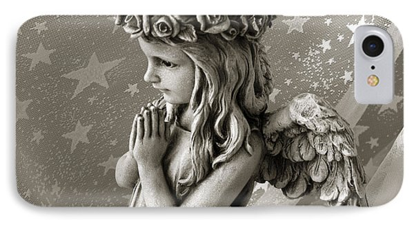 Dreamy Little Girl Angel With Praying Hands  Phone Case by Kathy Fornal