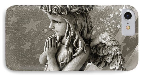 Dreamy Little Girl Angel With Praying Hands  IPhone Case by Kathy Fornal