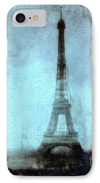 Dreamy Paris Eiffel Tower Aqua Teal Sky Blue Abstract  IPhone Case