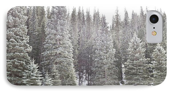 IPhone Case featuring the photograph Dreamy Pine Snow Forest Landscape by Andrea Hazel Ihlefeld