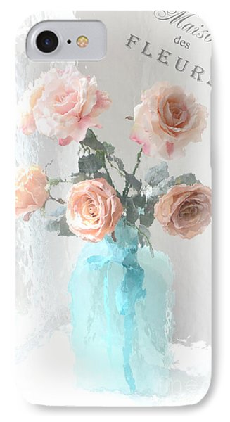 Dreamy Shabby Chic Paris Roses  - Paris French Floral Roses Teal Vase - Paris Roses French Script IPhone Case by Kathy Fornal