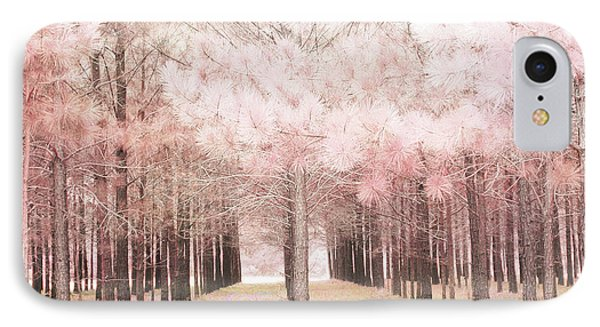 IPhone Case featuring the photograph Dreamy Shabby Chic Pink Nature Pink Trees Woodlands - Pink Nature Nursery Prints Decor by Kathy Fornal