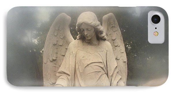 Dreamy Surreal Angel Art Fog Cemetery IPhone Case by Kathy Fornal