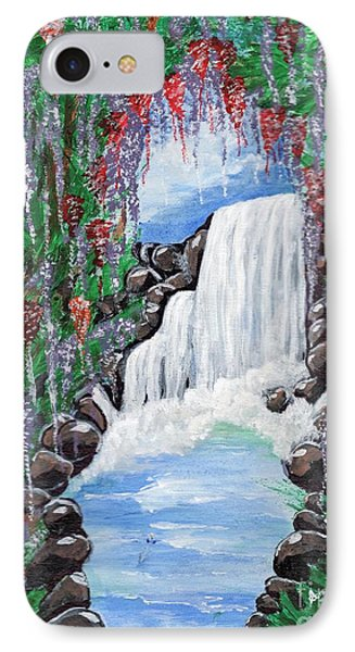IPhone Case featuring the painting Dreamy Waterfall by Saranya Haridasan