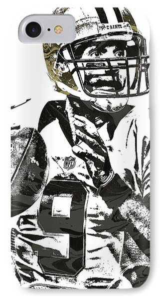 Drew Brees New Orleans Saints Pixel Art 1 IPhone Case by Joe Hamilton