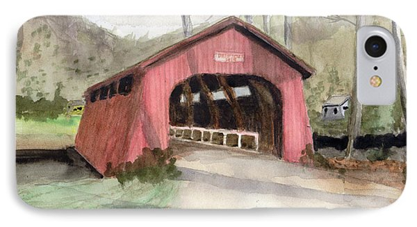 Drift Creek Covered Bridge Watercolor IPhone Case by Chriss Pagani