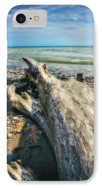 IPhone Case featuring the photograph Driftwood On Beach - Grant Park - Lake Michigan Shoreline by Jennifer Rondinelli Reilly - Fine Art Photography