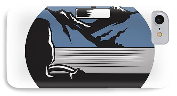 Driver Looking Mountain Pass Oval Woodcut IPhone Case by Aloysius Patrimonio