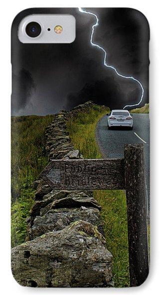 Driving Into The Storm IPhone Case by Martin Newman