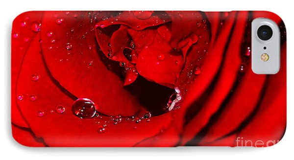 Droplets On Red Rose By Kaye Menner IPhone Case