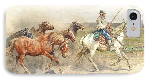 Droving Horses In The Roman Campagna IPhone Case by Enrico Coleman
