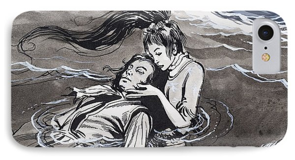 Mermaid iPhone 7 Case - Drowned Man Being Assisted By A Mermaid by English School