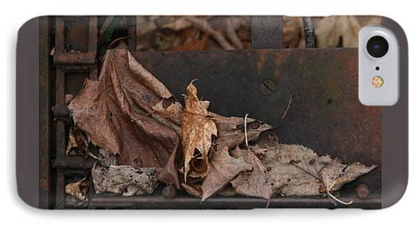 Dry Leaves And Old Steel-i IPhone Case by Patricia Overmoyer