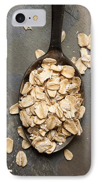 Dry Oatmeal Flakes In Spoon IPhone Case by Donald  Erickson