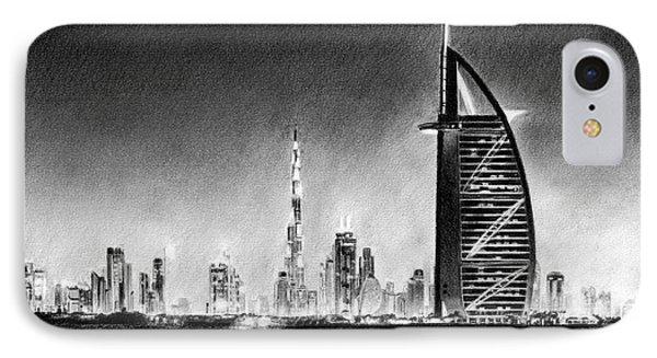 Dubai Cityscape Drawing IPhone Case