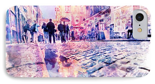 Dublin Watercolor Streetscape IPhone Case by Marian Voicu