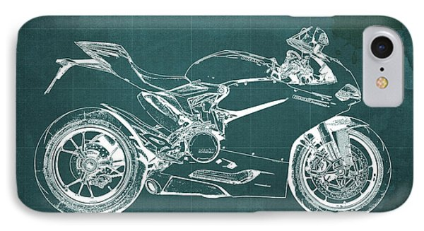 Ducati Superbike 1299 Panigale 2015, Gift For Men, Green Background IPhone Case by Pablo Franchi