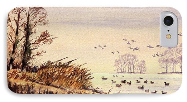 IPhone Case featuring the painting Duck Hunting Times by Bill Holkham