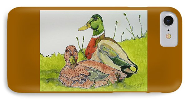 IPhone Case featuring the painting Ducks In Love by Rand Swift