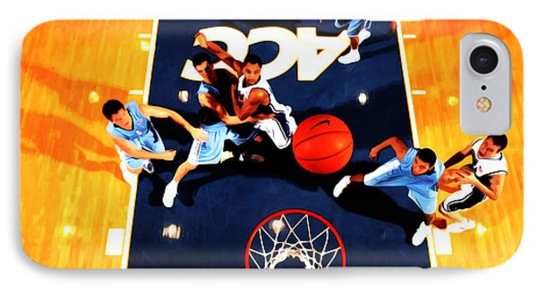 Duke And North Carolina Basketball Rivalry IPhone Case by Brian Reaves