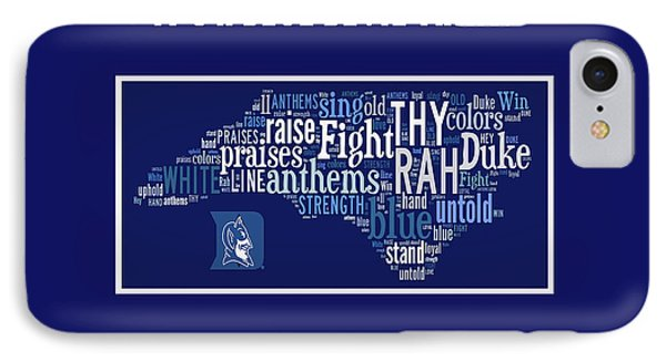 Duke University Blue And White Products IPhone Case by Paulette B Wright