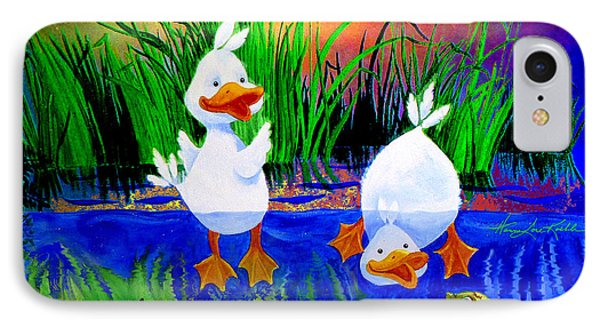 Dunking Duckies IPhone Case by Hanne Lore Koehler