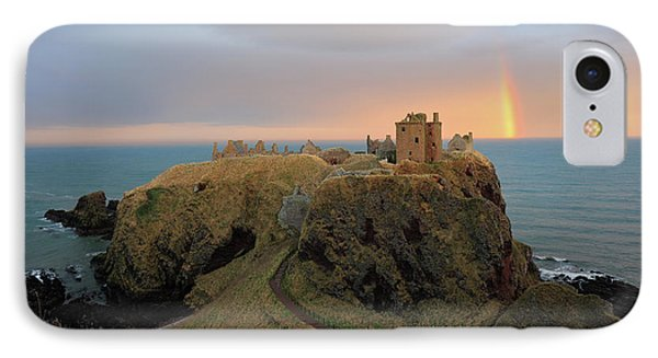 IPhone Case featuring the photograph Dunnottar Castle Sunset Rainbow by Grant Glendinning