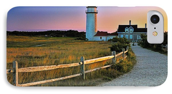 Dusk At Cape Cod Lighthouse IPhone Case by Thomas Schoeller