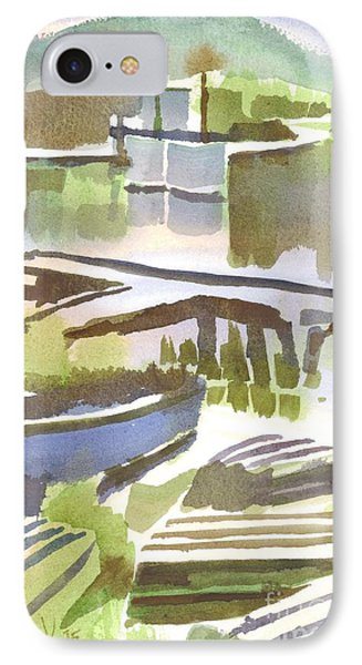 IPhone Case featuring the painting Dusk At The Boat Dock by Kip DeVore