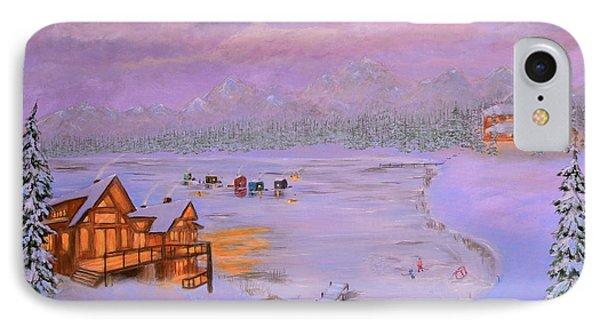 Dusk Winter Lake IPhone Case by Ken Figurski