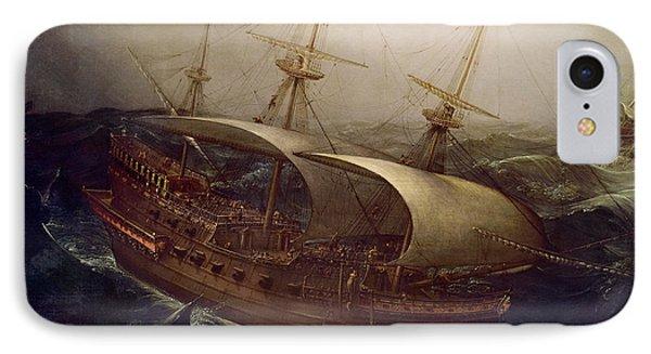 Dutch Battleship In A Storm Phone Case by Hendrick Cornelisz Vroom