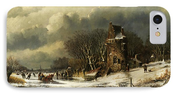 Dutch Landscape With Figures IPhone Case by Andreas Schelfhout