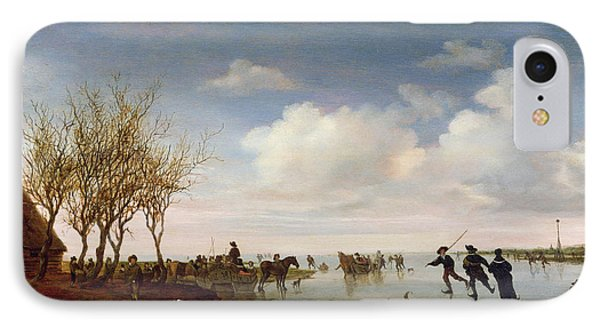 Dutch Landscape With Skaters IPhone Case by Salomon van Ruysdael