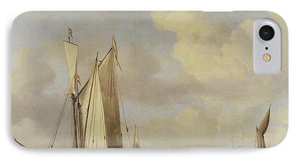 Dutch Vessels Inshore And Men Bathing IPhone Case by Willem van de Velde