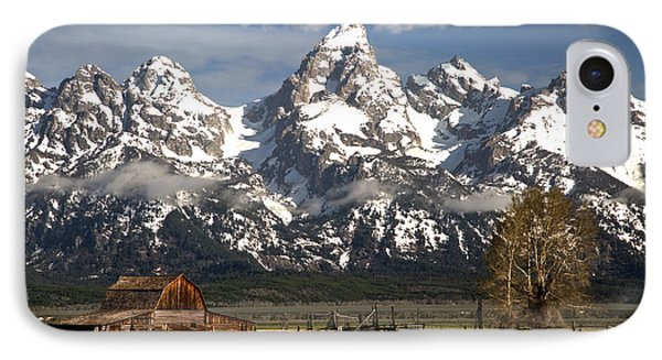 Dwarfed By The Teton Mountain Ange IPhone Case by Adam Jewell
