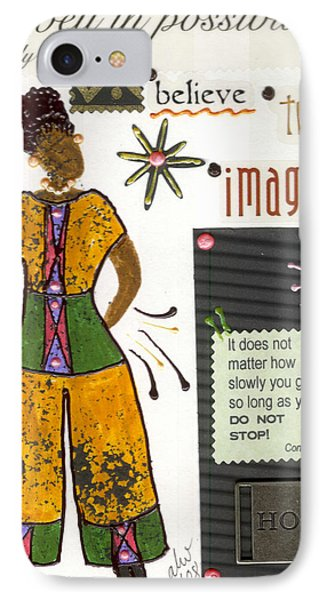 IPhone Case featuring the mixed media Dwell In Possibility by Angela L Walker