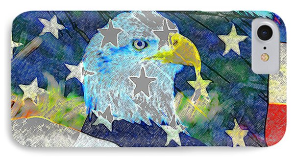 IPhone Case featuring the digital art Eagle Americana by David Lee Thompson