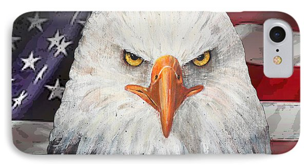 Eagle And The Flag IPhone Case by Arline Wagner