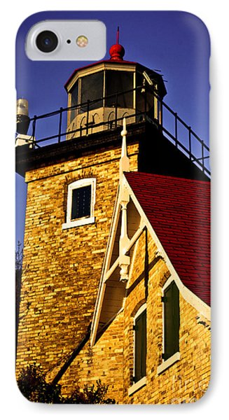 Eagle Bluff Lighthouse Of Door County IPhone Case by Mark David Zahn