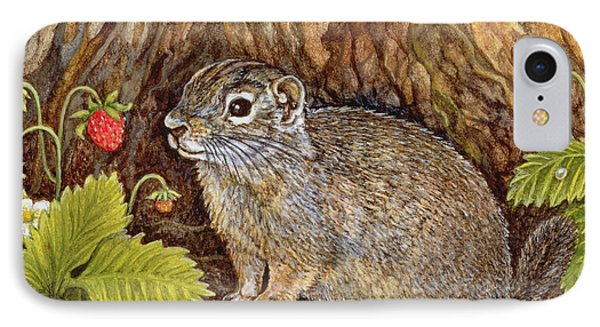Eagle Creek Wild Strawberry Ground Squirrel IPhone Case by Ditz