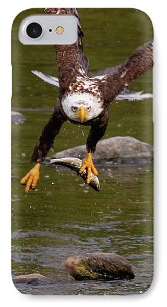 IPhone Case featuring the photograph Eagle Fying With Fish by Debbie Stahre