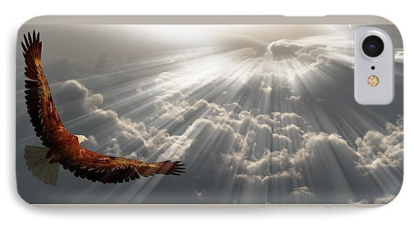 Eagle In Flight Above The Clouds IPhone Case by Bruce Rolff