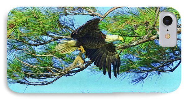 IPhone Case featuring the painting Eagle Series Food by Deborah Benoit