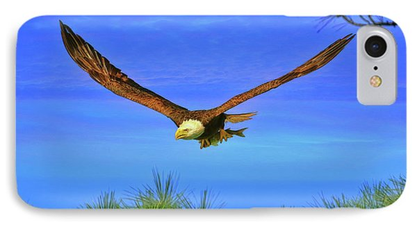 IPhone Case featuring the photograph Eagle Series Through The Trees by Deborah Benoit