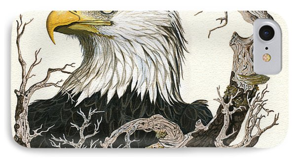 Eagle's View - Wildlife Painting IPhone Case by Linda Apple