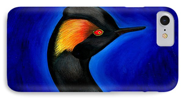 IPhone Case featuring the painting Eared Grebe Duck by Fanny Diaz
