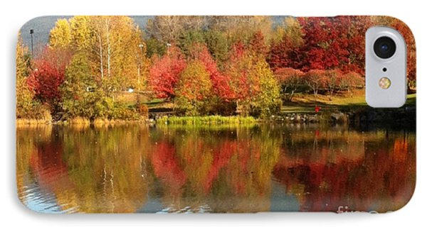 IPhone Case featuring the painting Early Fall At Lafarge Lake by Rod Jellison