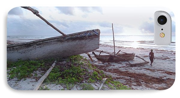 early morning African fisherman and wooden dhows IPhone Case