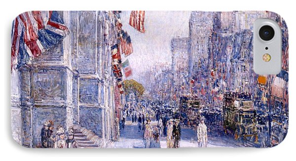 IPhone Case featuring the painting Early Morning On The Avenue In May 1917 - 1917 by Frederick Childe Hassam