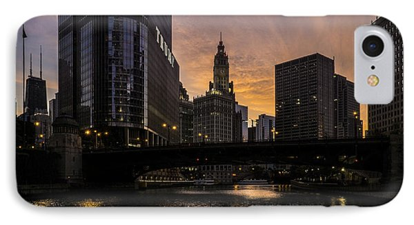 early morning orange sky on the Chicago Riverwalk IPhone Case by Sven Brogren